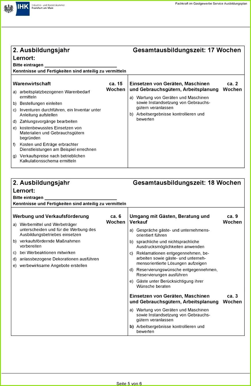 20 Betrieblicher Ausbildungsplan Muster