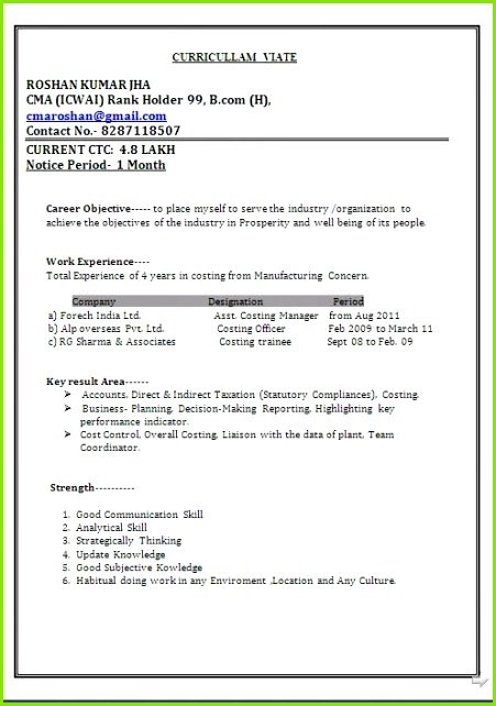 curriculum vitae word format Sample Template Example ofExcellent Resume CV Format with Career Objective