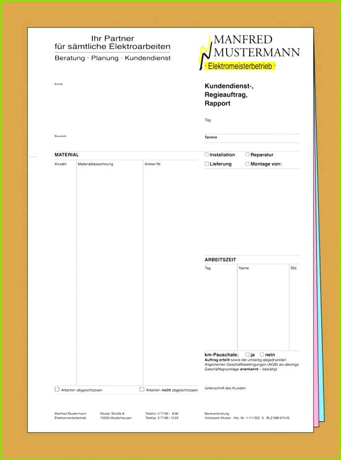 Rapportzettel Vorlage Handwerk Inspirierend Durchschreibesätze Für Handwerk Drucken