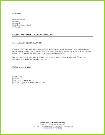 Ratenzahlung Bestätigung Vorlagen und Muster