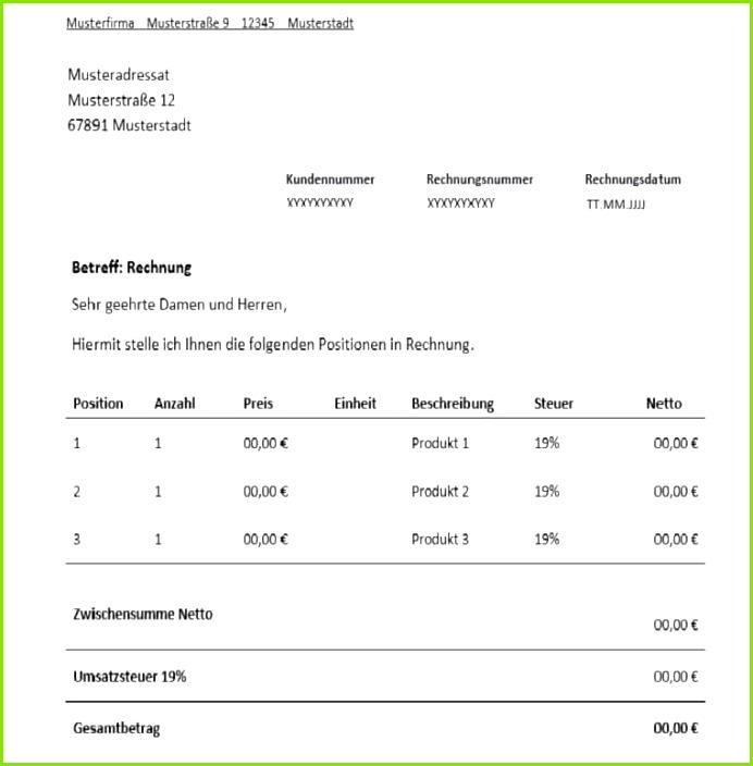Rechnung Für Freiberufler Vorlage & Muster