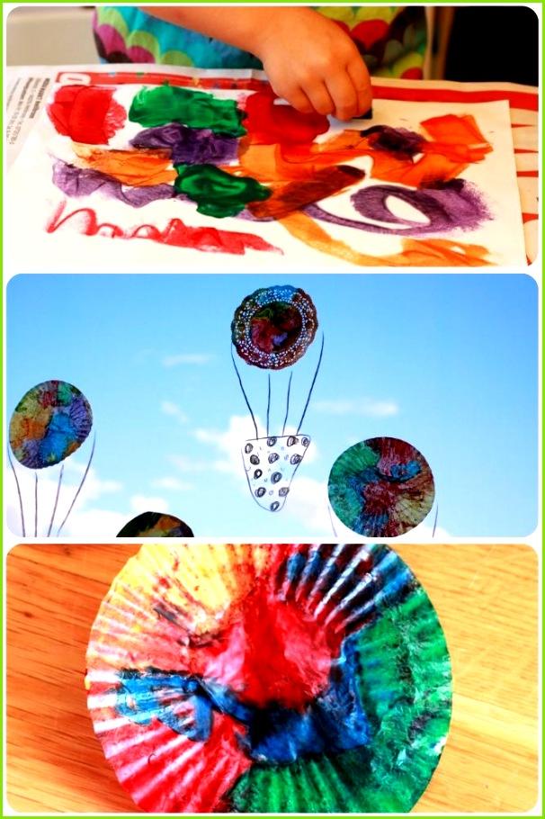 Tolles Fensterbild zum Herbst basteln Ein Heißluftballon der in der Sonne leuchtet