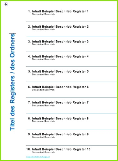 Ordnerregister Vorlage Deckblatt Muster Vorlage Inhaltsverzeichnis