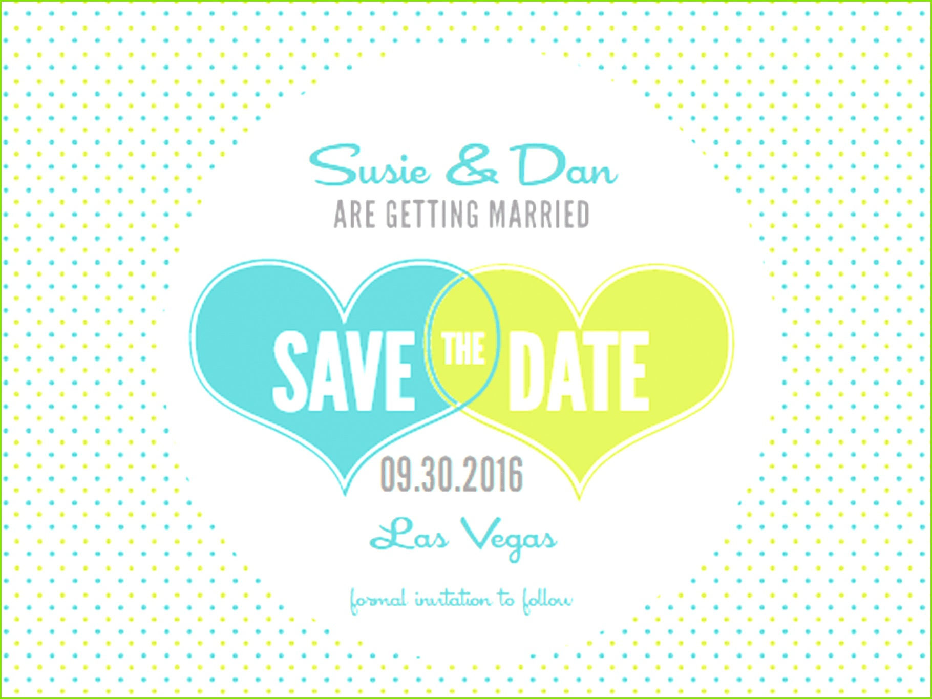 Hearts and Polka Dots Free Printable Save the Date Template from Wedding Chicks