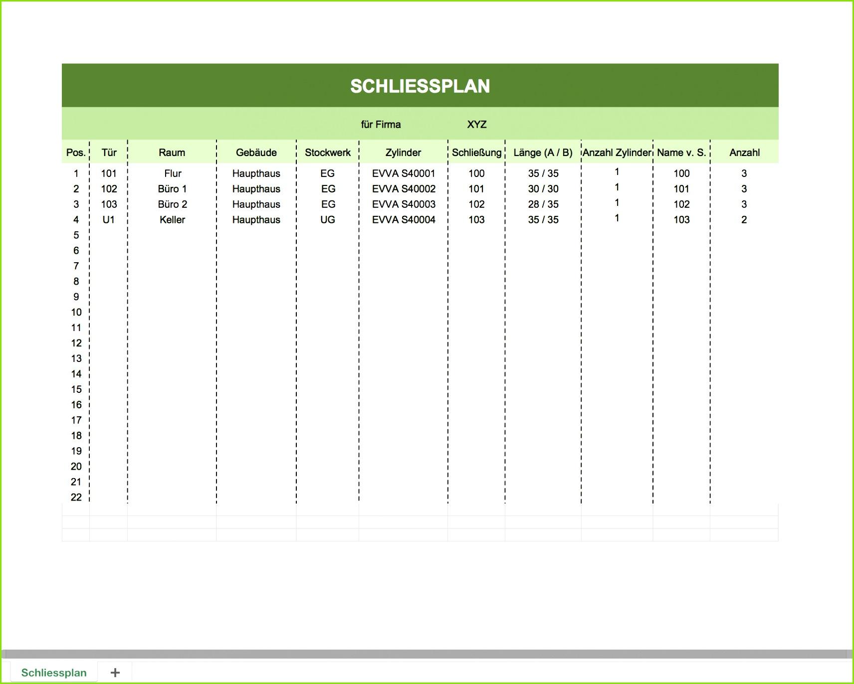 Hier eine Vorschau der Schlüssel Listen mit Excel