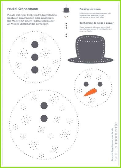 Prickel Schneemann Bastelbogen zum Prickeln eines Schneemann Mobiles