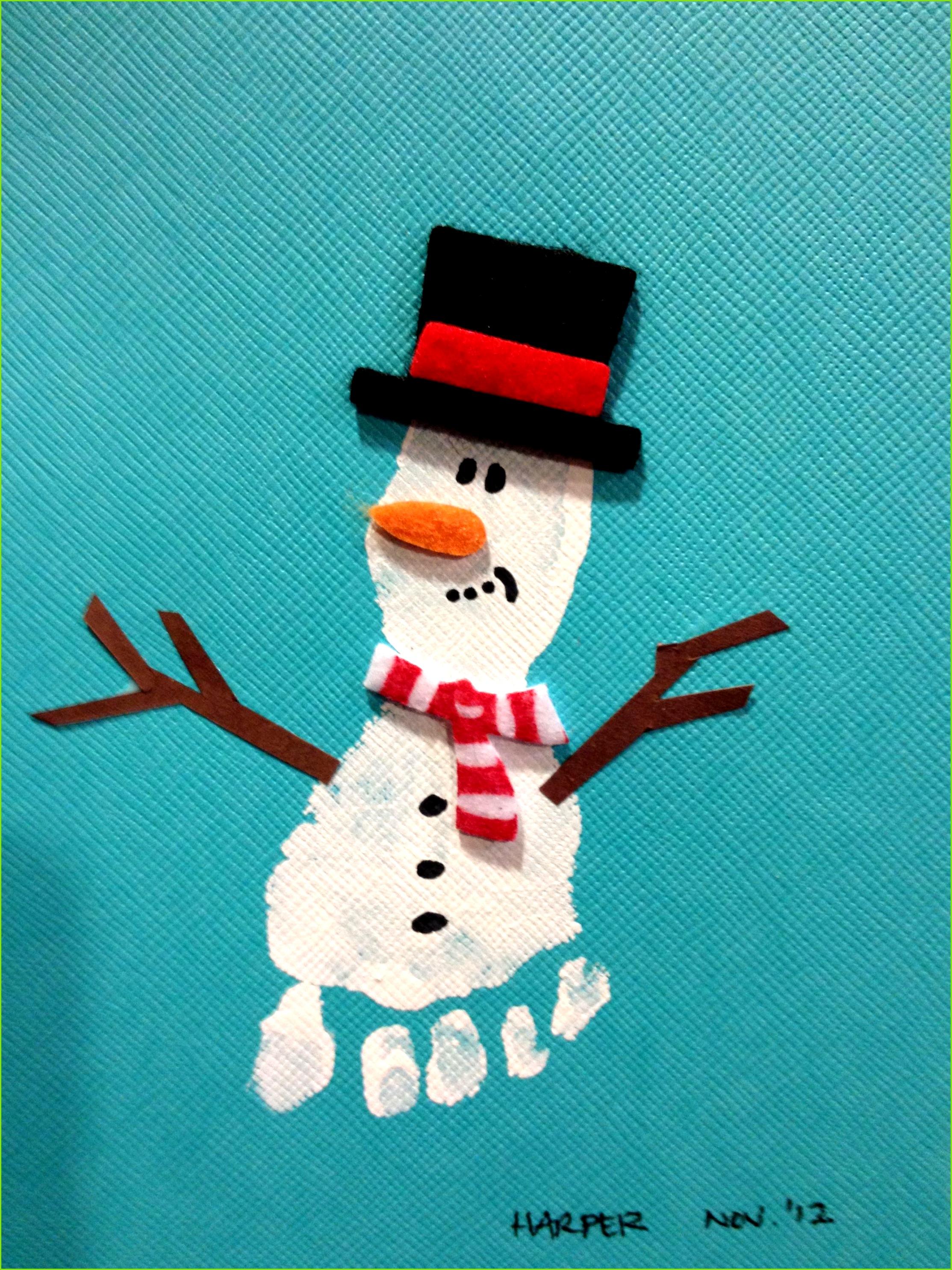 Schneemann mit Hut Fussabdruck