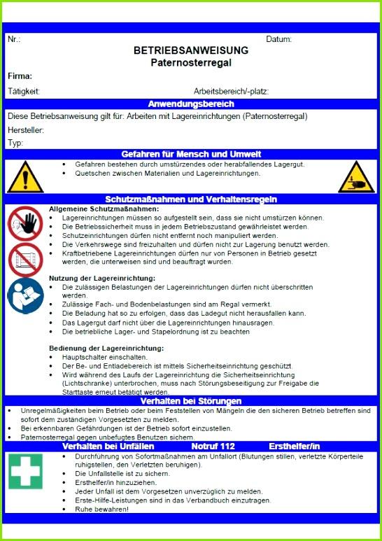 Betriebsanweisung Paternosterregal Lagereinrichtungen Betriebsanweisung Paternosterregal Lagereinrichtungen Sofort – Unterweisung Arbeitssicherheit Vorlage