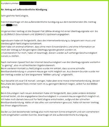 kündigung entwurf Vertrag Kündigung Brief