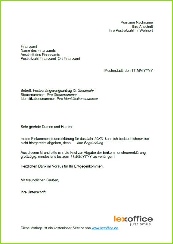 Fristverlängerung  Vorlage Antrag auf Fristverlängerung zur Steuererklärung