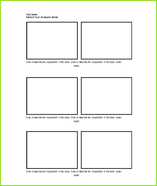 30 second movie storyboard template word
