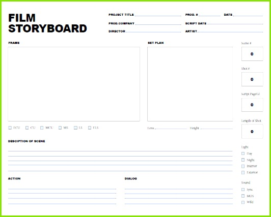 Download Free Storyboard Template for and Video Project