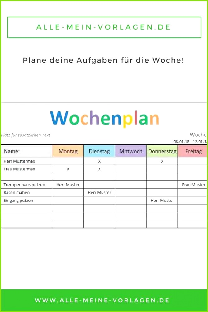 """Mit der kostenlosen Vorlage """"Wochenplan"""" kannst du deine Aufgaben und ToDo´s wöchentlich Excel Stundenplan Vorlage – Stundenplan Vorlage Pdf"""