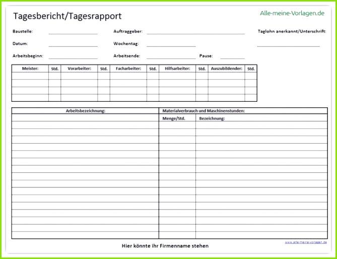 Kostenlose Vorlage eines Tagesbericht oder Tagesrapport im Excel Open fice und im PDF Format Listen Sie