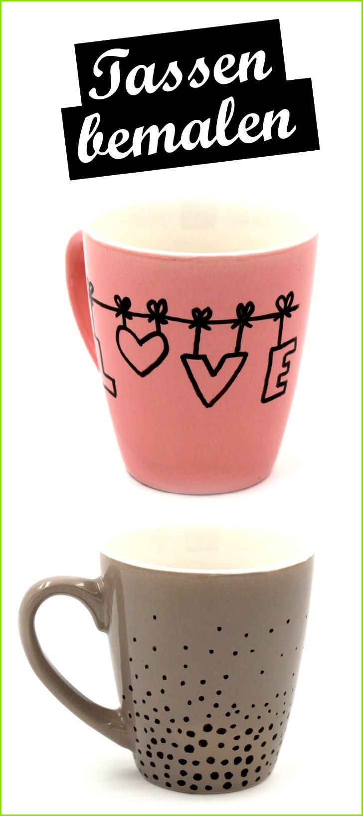DIY Tassen selbst bemalen mit Porzellan Stiften Einfache Motive und Anleitungen DIY Keramik gestalten Schöne Bastelideen zum verschenken und selber