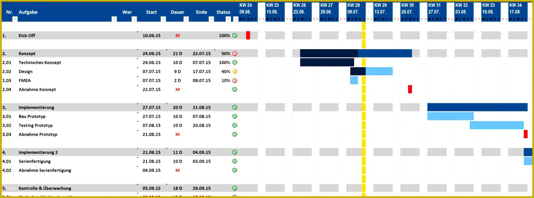 16 Projektplan Excel