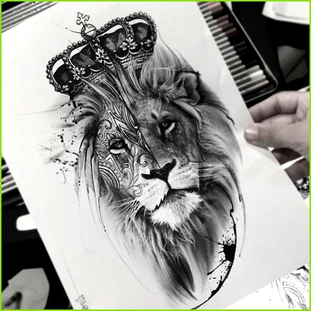 realistische löwenkopf zeichnung tattoo vorlage zeichnen löwe mit großer krone Tummy Tattoo Tattoo