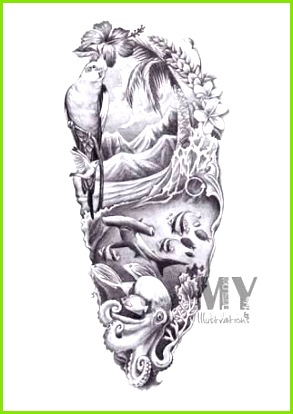 Image result for beach half sleeve tattoos for women