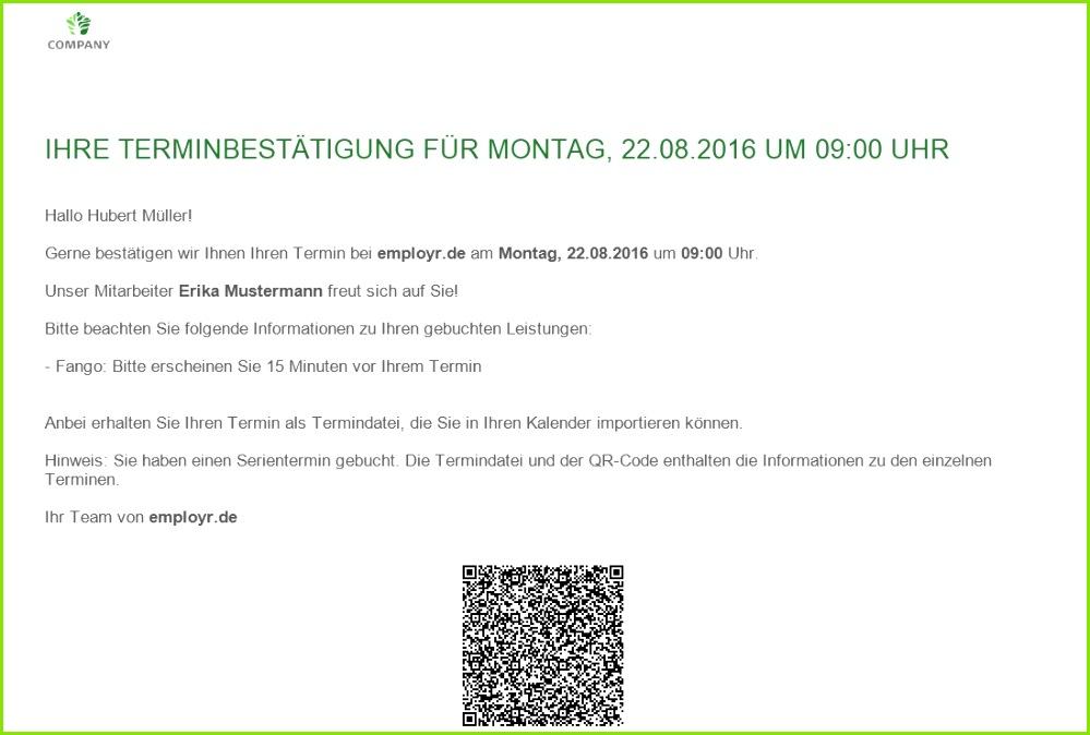 Terminbestätigung Vorlage E Mail Süß Employr the Easy Way to Employ
