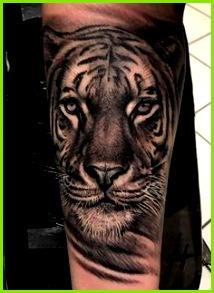 tiger tattoo bein beintattoo tätowierung in schwarz und weiß Tiger Tattoo Schwarz Weiß