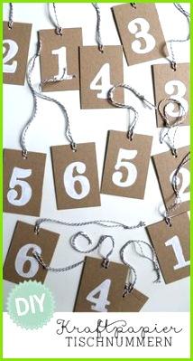 DIY Weiße Tischnummern auf Kraftpapier