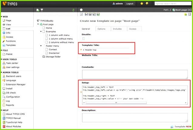 TYPO3 Typoscript template setup TYPO3Buddy website tutorial