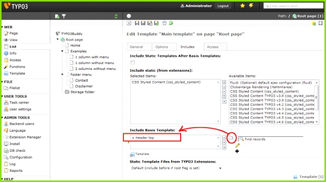 TYPO3 Typoscript include basis template TYPO3 template tutorial