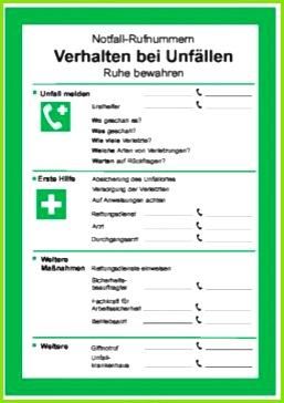 Schild Verhalten bei Unfällen als PDF Datei