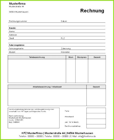 Muster Reelph · Kfz Werkstatt Rechnungsvorlage Download Kostenlos