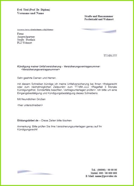 Kündigung Fitnessstudio Vorlage Pdf Schön Frisches Kündigung Unfallversicherung Muster