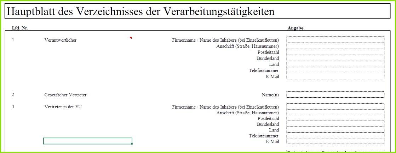 Verzeichnis von Verarbeitungstätigkeiten Excel Vorlage für das Hauptblatt