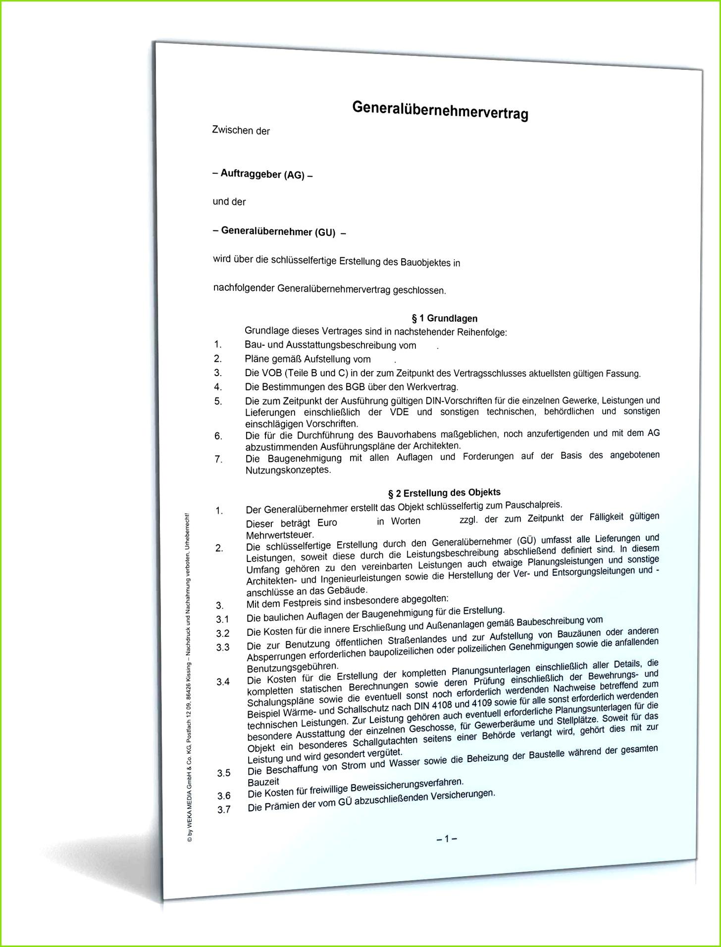 Verzugsschreiben Vob Vorlage Bewundernswert Generalübernehmervertrag Vob
