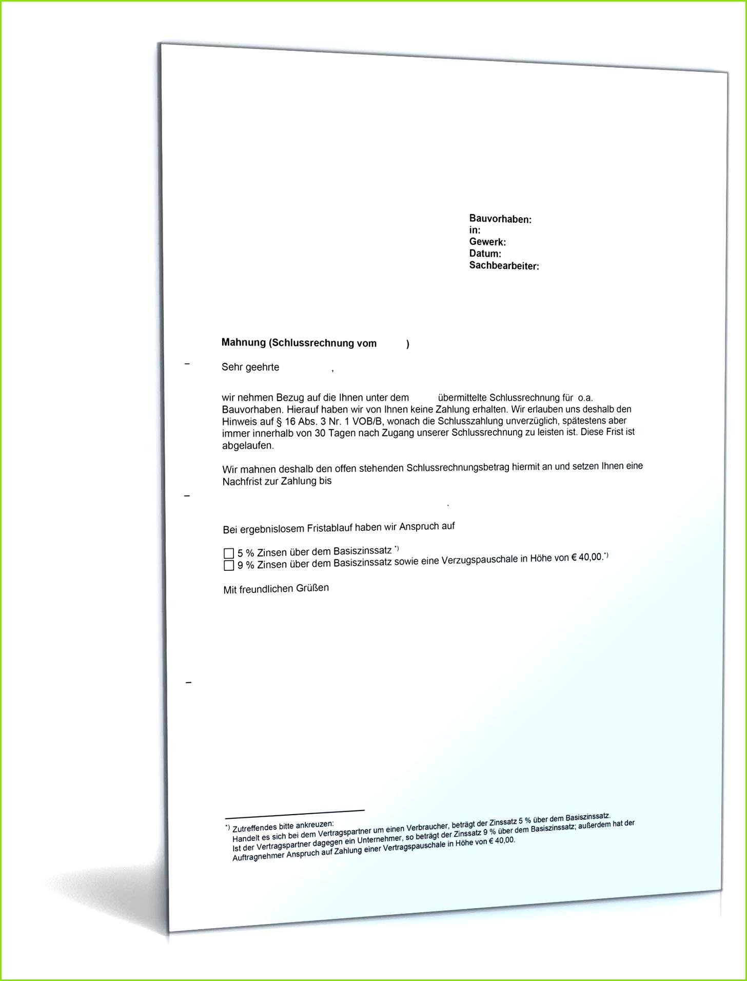 Mahnung einer Schlusszahlung VOB Vertrag
