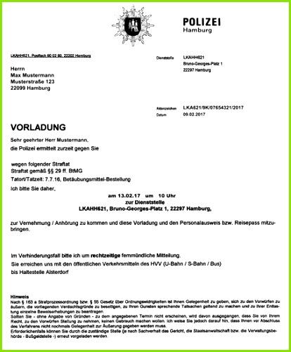 Vorladung der Polizei Hamburg