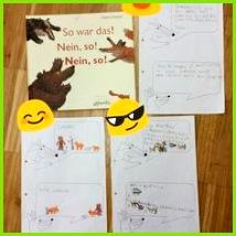 """j p1111 on Instagram """"Freies Schreiben fällt den Kindern noch sehr schwer Hier sollte Schritt für Schritt der Dialog eines Kinderbuchs aufschreiben Die…"""