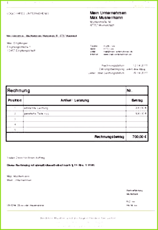 Rechnung Kleingewerbe Ohne Umsatzsteuer Bild Singular Rechnung Kleinunternehmer Vorlage Word