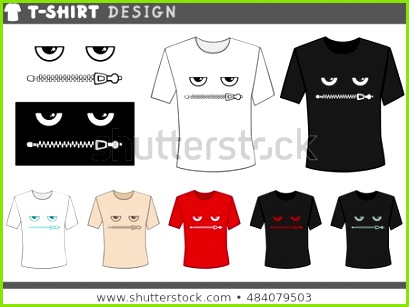 Illustration of T Shirt Design Template with Eyes and Zipped Lips