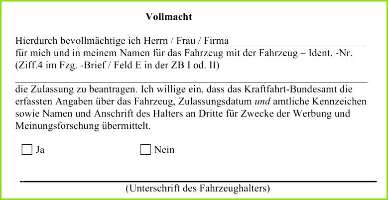 29 Angenehm Vollmacht Kfz Zulassung Muster Abbildung