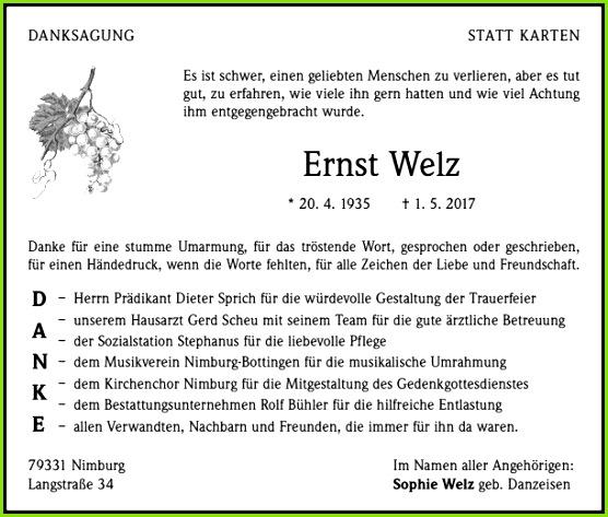 Danksagung Beerdigung Vorlagen Ernst Welz Trauer Traueranzeigen & Nachrufe Badische