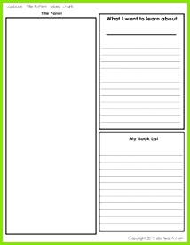 Title Labels Charts b w A template page for creating a lapbook