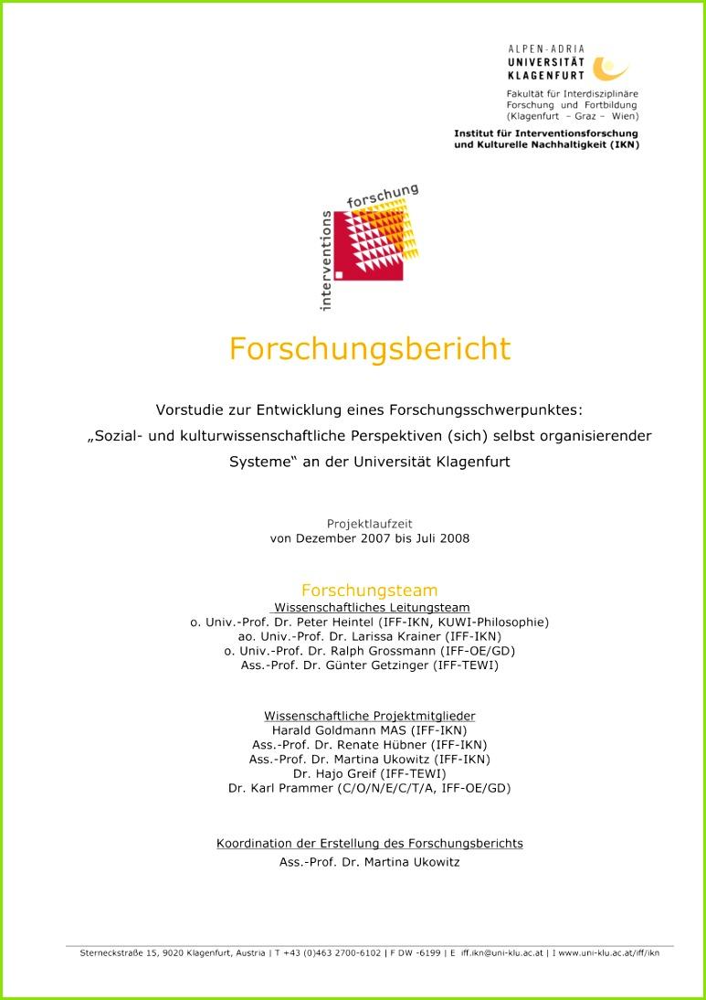 """PDF Forschungsbericht Vorstu zur Entwicklung eines Forschungsschwerpunktes """"Sozial und kulturwissenschaftliche Perspektiven sich selbst"""