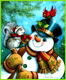 Just for You by Janet Stever Christmas winter snowman squirrel cardinal