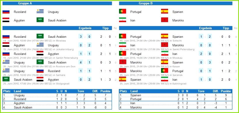 Infos zu Excel WM Tippspiel 2018 Version 2 3