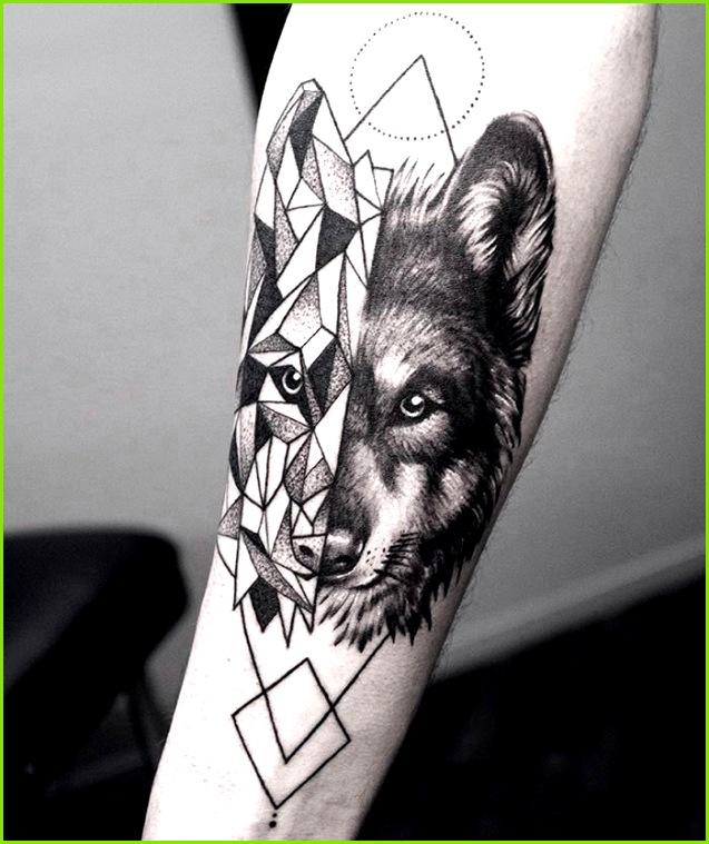 Wolf Geometrical fusion tattoo by shirmaineanne Soular Tattoo Christchurch New Zealand
