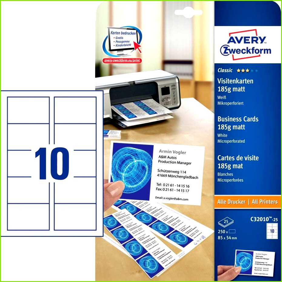Visitenkarten C 25 Inhalt 250 Karten 25 Bogen