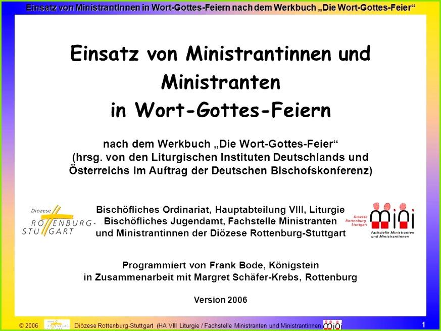 Einsatz von Ministrantinnen und Ministranten in Wort Gottes Feiern
