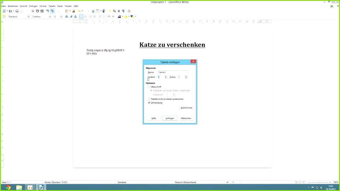 Libre fice 4 Writer Abreißzettel erstellen