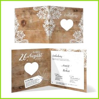 """Elegant & romatisch So kommen unsere lasergeschnittenen Hochzeits Einladungskarten """"Rustikal Holz mit weißer Spitze"""" daher"""