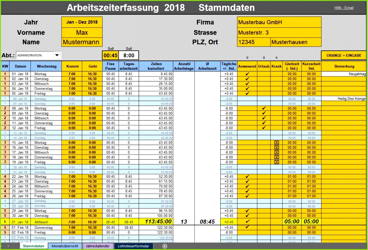 Arbeitszeit Berechnen Excel Vorlage