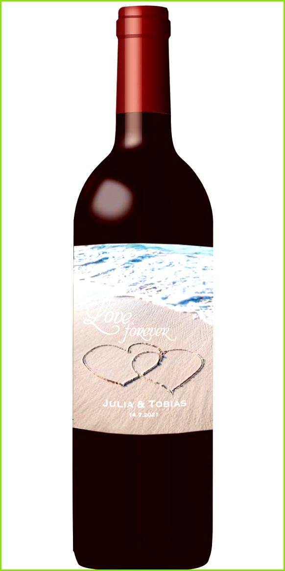 Flaschenetikett Weinetikett für maritime Hochzeit mit Motivdruck Herzen im Sandstrand am Meer und Schriftzug